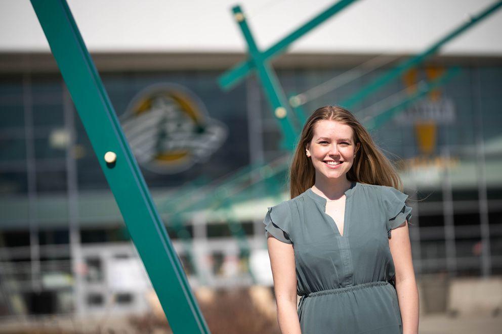 University of Alaska Anchorage graduate Clare Baldwin, photographed on Saturday, May 2, 2020 at the Alaska Airlines Center. (Loren Holmes / ADN)