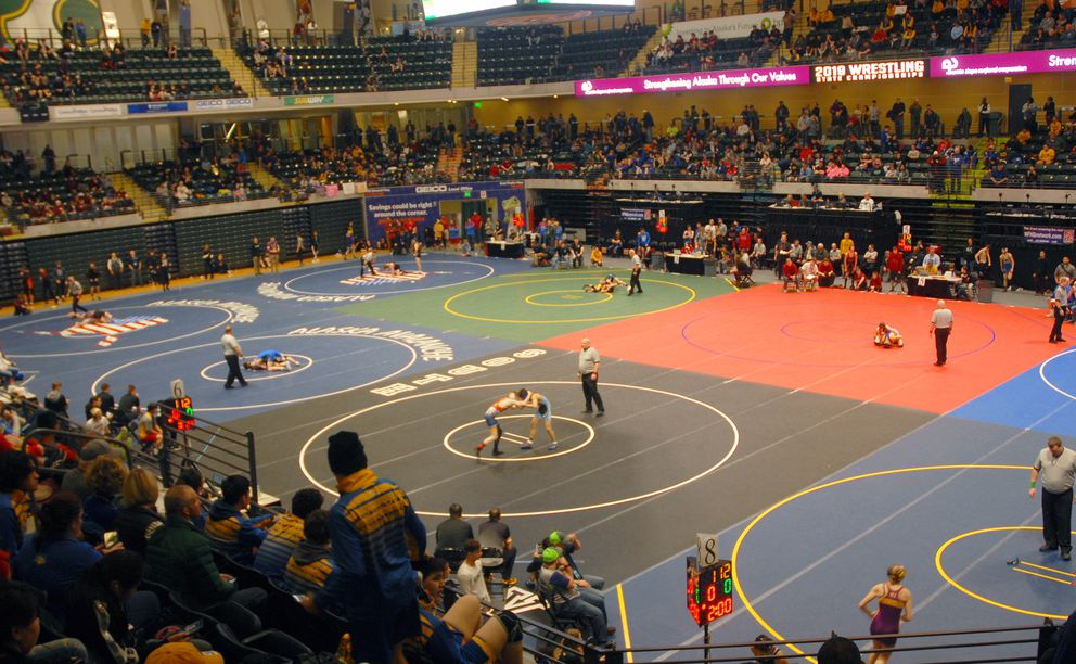 Matches were held on eight matches during the early rounds of the state wrestling championships. (Matt Tunseth / ADN)