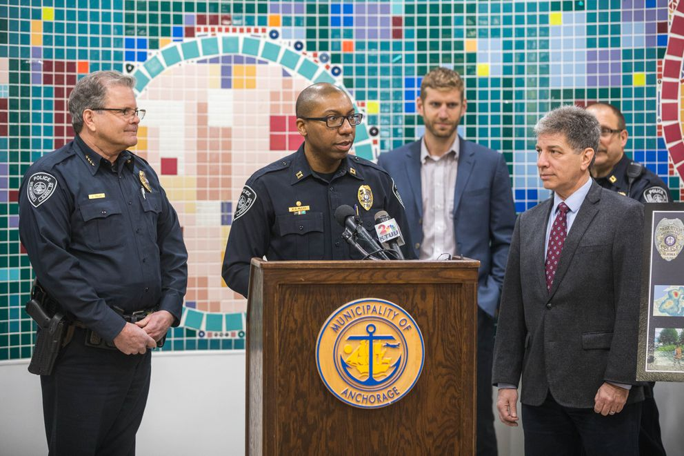Acting Deputy Chief Ken McCoy speaks at a press conference where the Anchorage Police Department announced its targeted crime plan Thursday at the Mountain View Boys and Girls Club.  (Loren Holmes / Alaska Dispatch News)