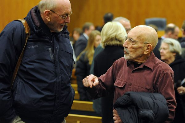 Vic Fischer, right, and Don Mitchell chat after the Alaska Supreme Court heard arguments on the results of the U. S. Senate race on December 17, 2010 at the Boney Courthouse downtown. Fischer is among the last living signers of the Alaska State Constitution.