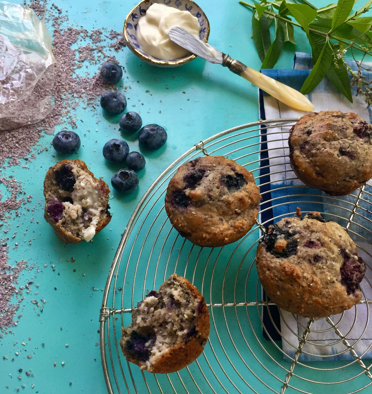 Blue cornmeal gives color and texture to blueberry muffins. (Photo by Kim Sunée)