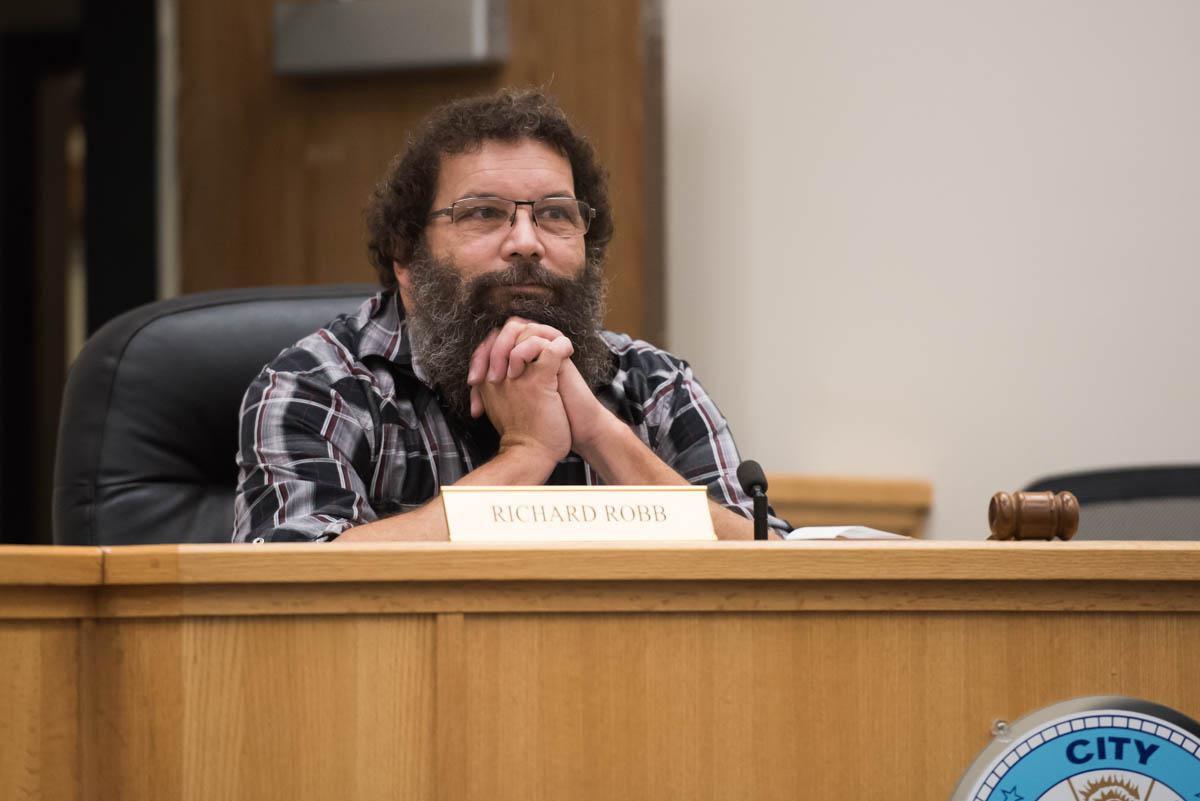 Mayor Rick Robb at a Bethel City Council meeting on Monday. (Katie Basile / KYUK)