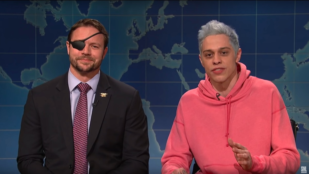 Rep.-elect Dan Crenshaw and Pete Davidson. (NBC via Youtube)