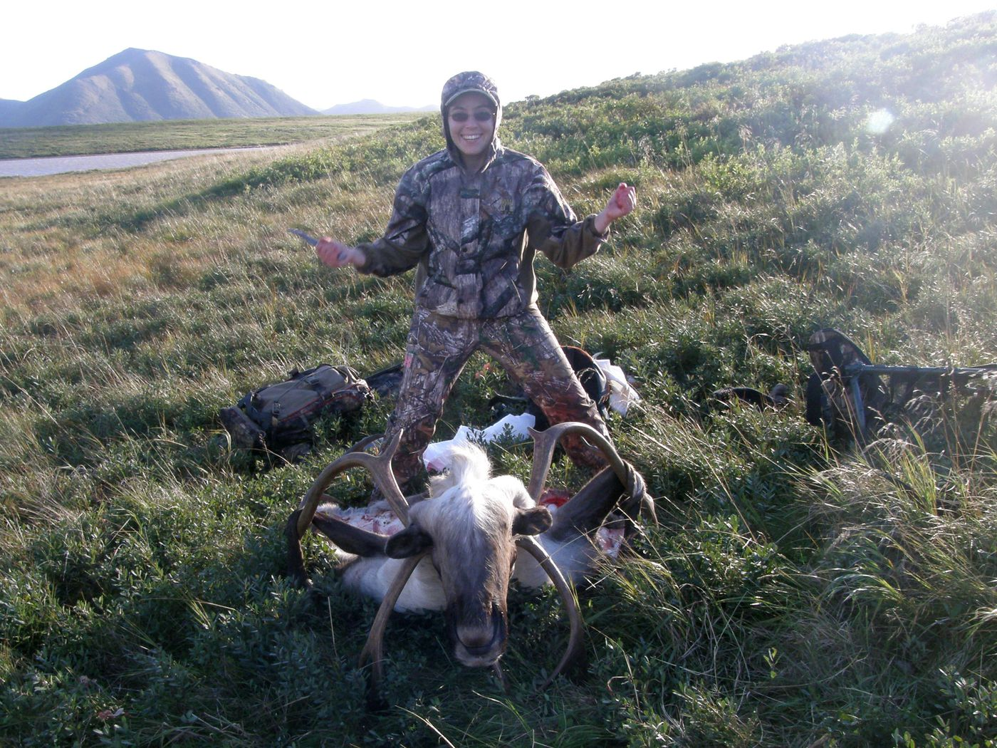 Amanda Alaniz skins a caribou she hunted in preparation for a half-body mount taxidermy piece on Aug. 30, 2015. (Photo provided by Amanda Alaniz)
