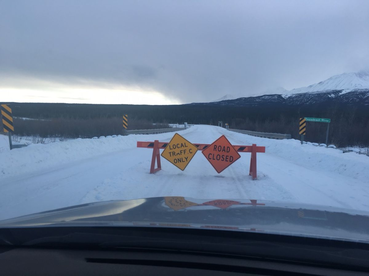The road between the Yukon and the Southeast Alaska town of Haines is closed Monday, January 15, 2018 due to treacherous driving conditions. (Courtesy John Bitney.)