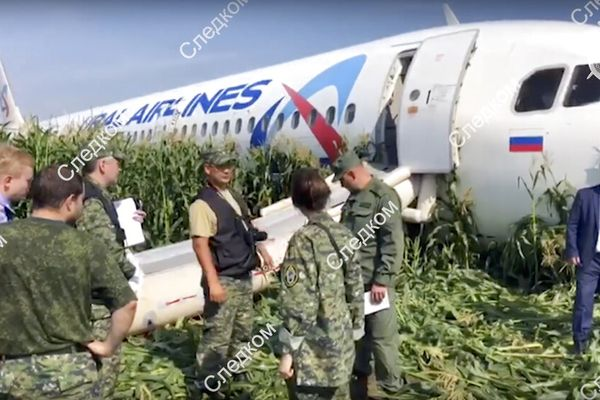 In this file image taken from a video distributed by Russian Investigative Committee, Investigative Committee employees work at the crash site of a Russian Ural Airlines' A321 plane is seen after an emergency landing in a cornfield near Ramenskoye, outside Moscow, Russia, Thursday, Aug. 15, 2019. The Russian pilot was being hailed as a hero Thursday for safely landing his passenger jet in a corn field after it collided with a flock of gulls seconds after takeoff, causing both engines to malfunction. While dozens of people on the plane sought medical assistance, only one was hospitalized. (The Investigative Committee of the Russian Federation via AP) EDS NOTE: Watermark placed on image at source translated as InvestCom