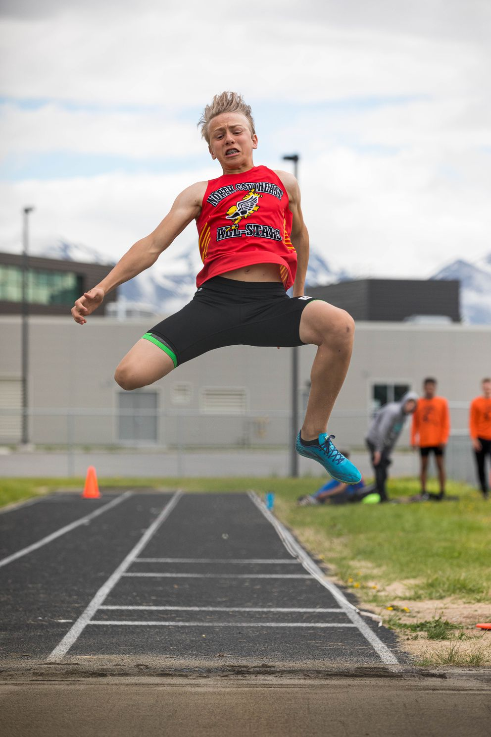 Lathrop's Riley Knott competes in the long jump at the Brian Young Invitational Friday, May 31, 2019 at West High. (Loren Holmes / ADN)