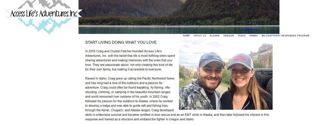 Access Life's Adventures' website advertised the company's guided fishing and hunting trips in Alaska, as well as Hawaii, Oregon and Texas. This is a screen capture of an archived version of the website. (Wayback Machine, archive.org / via The Idaho Statesman)