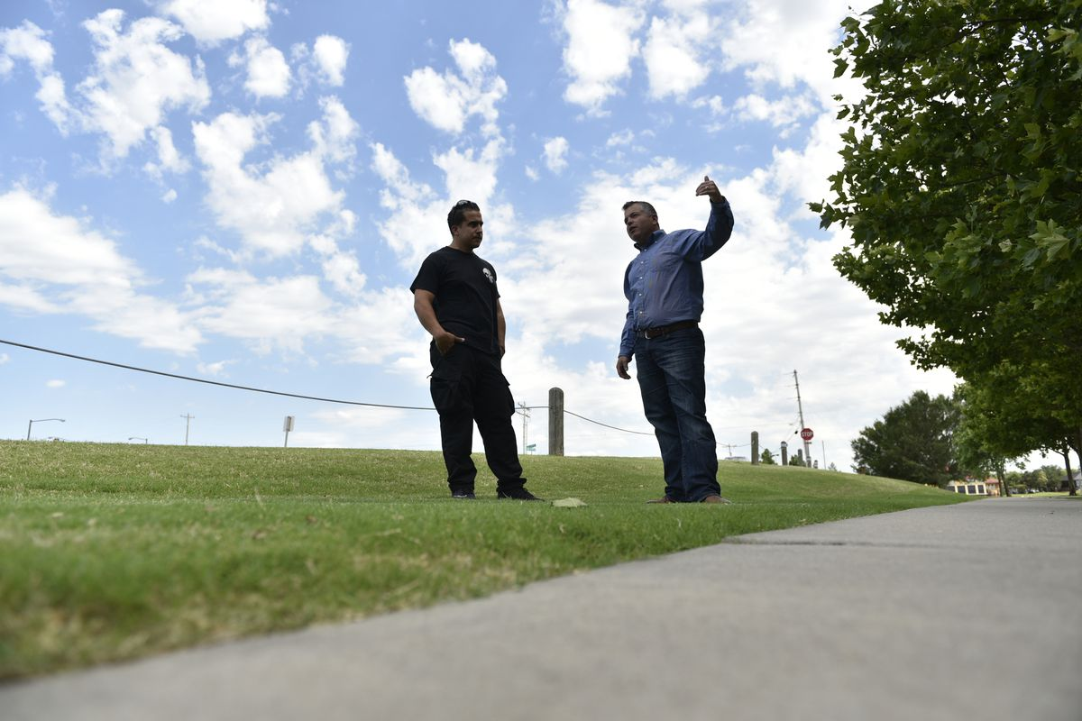 Juan Carlos Nazario, left, and Bryan Whittle speak on June 21, 2018, about their experience of confronting and killing a gunman on May 24 outside Louie's On the Lake in Oklahoma City. Photo for The Washington Post by Nick Oxford