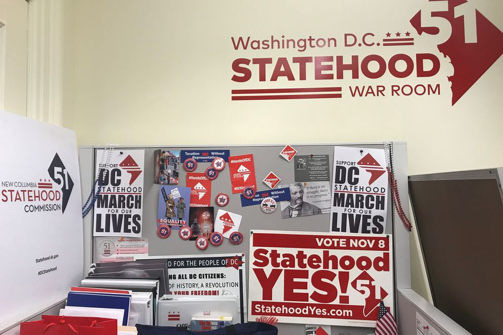 A windowless room in 2018 served as the war room for Mayor Muriel E. Bowser's statehood campaign. MUST CREDIT: Washington Post photo by Fenit Nirappil.