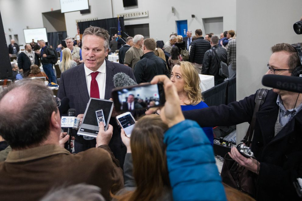 Gov.-elect Mike Dunleavy speaks to reporters after announcing his first cabinet picks Thursday, Nov. 8, 2018 at the Alaska Miners Association convention. (Loren Holmes / ADN)