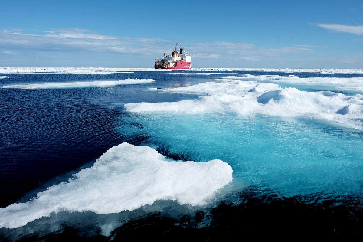 Ice floes surround the U.S. Coast Guard Cutter Healy in the Arctic Ocean on July 29. Washington Post photo by Bonnie Jo Mount