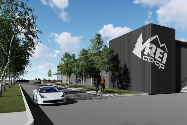 REI's new location in Anchorage will provide better access to the Seward Highway, for Alaskans and visitors on their way to Denali National Park or the Kenai Peninsula. The new location at the Midtown Mall is expected to open in early 2019. Rendering by ECI Alaska.