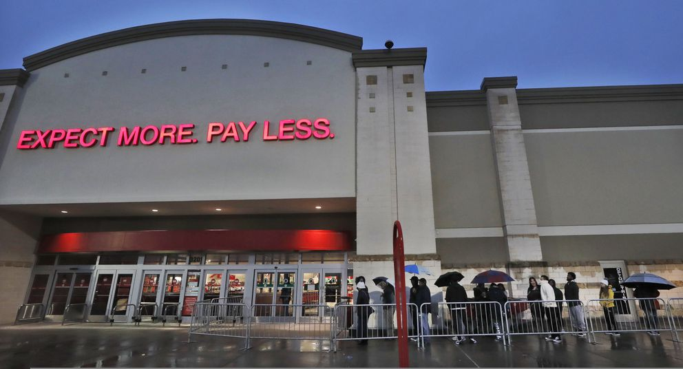 Shoppers line up for a Target store to open in Frisco, Texas, Friday, Nov. 29, 2019. Black Friday once again kicks off the start of the holiday shopping season. But with it will be the shortest season since 2013 because Thanksgiving fell on the fourth Thursday in November, the latest possible date it could be. (AP Photo/LM Otero)