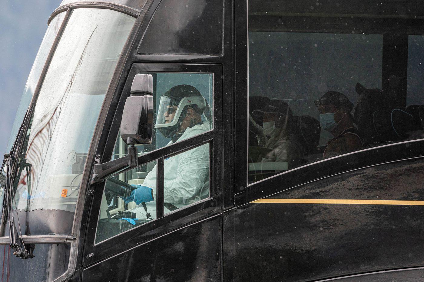 JULY 22. Crew members from the American Triumph are transported by bus from Seward to Anchorage. (Loren Holmes / ADN)