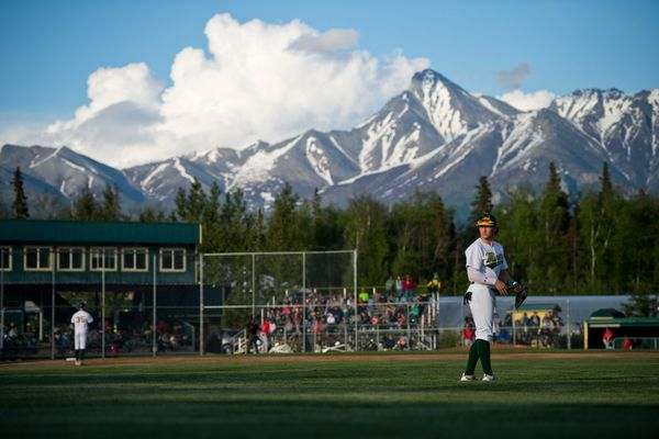 Miners outfielder Justin Kirby takes the field. The Alaska Baseball League's season opened on June 5, 2019, when the Mat-Su Miners hosted the Chugiak-Eagle River Chinooks at Hermon Brothers Field in Palmer. (Marc Lester / ADN)