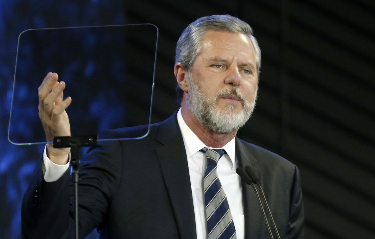 FILE - In this Nov. 28, 2018, file photo, Liberty University President Jerry Falwell Jr. speaks before a convocation at Liberty University in Lynchburg, Va. (AP Photo/Steve Helber, File)