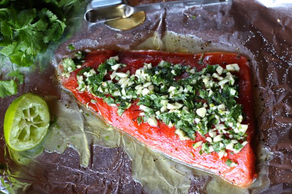 Cilantro lime salmon baked in foil.
