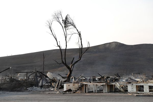 Burnt structures are seen at the historic Stornetta Dairy along Highway 121 during the Nuns Fire in Sonoma, California, U.S., October 9, 2017. REUTERS/Stephen Lam