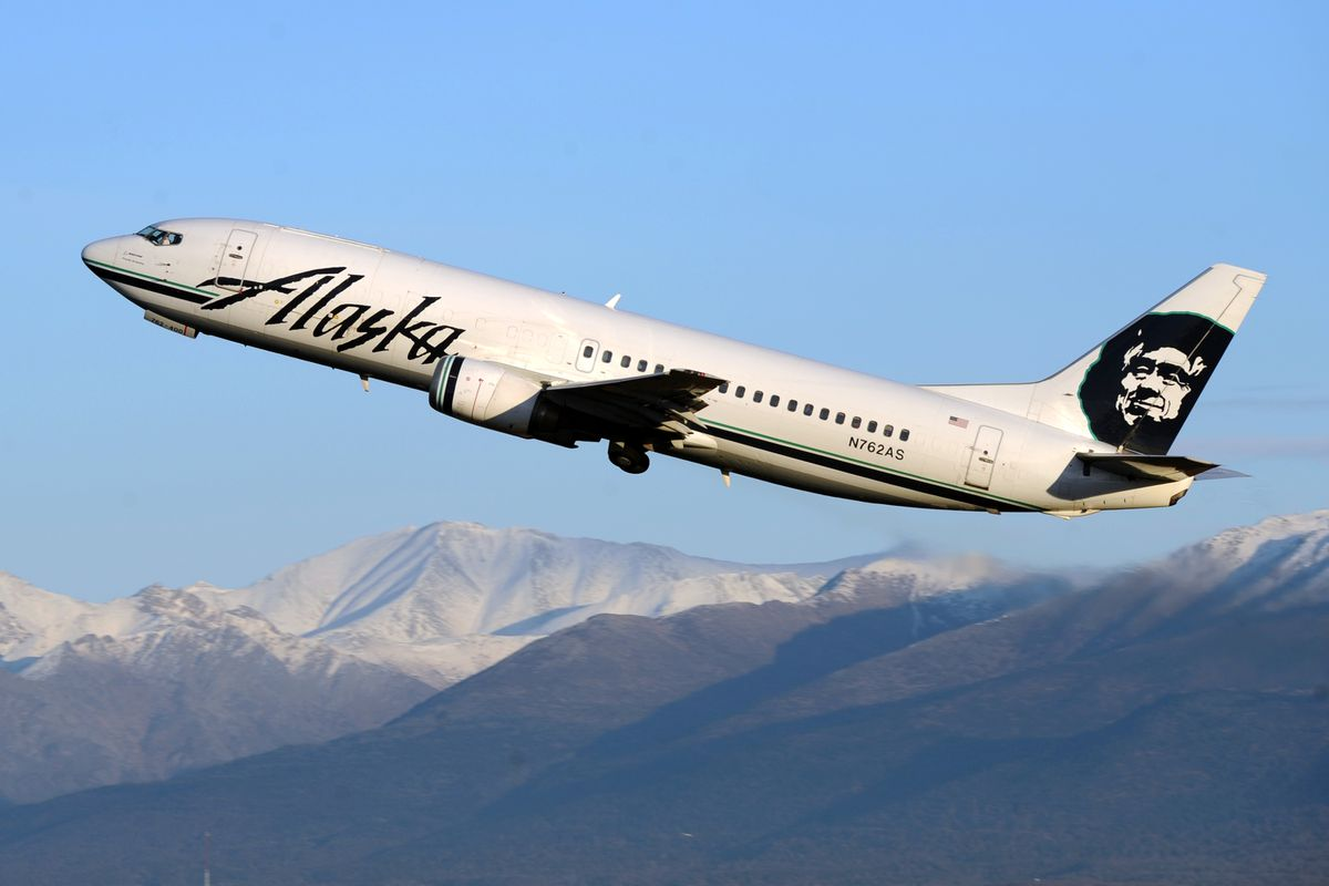 An Alaska Airlines jet takes off onNov. 11, 2016, at Ted Stevens Anchorage International Airport. (Erik Hill / ADN archive)