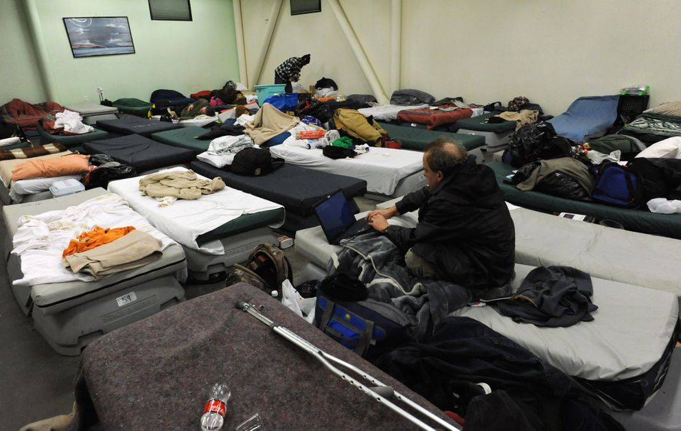 Brother Francis Shelter clients who volunteer, or are employed and working with a case manager, have access to beds in the dorm on Wednesday, Nov. 30, 2016. (Bill Roth / Alaska Dispatch News)