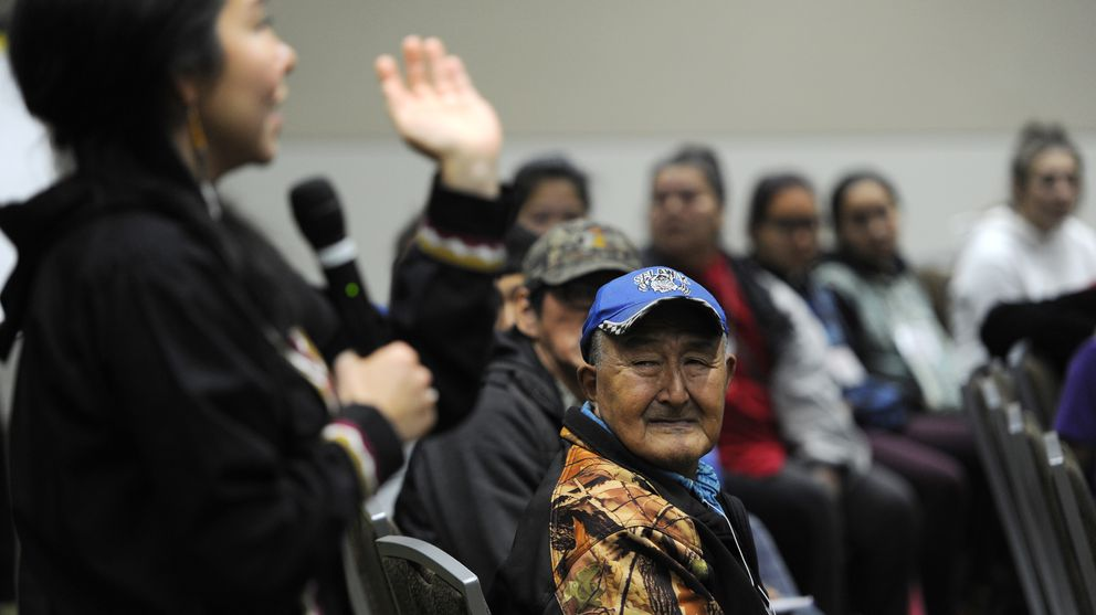 The First Alaskans Institute kicked off their 34th annual Elders and Youth Conference at the Dena'ina Civic and Convention Center with a Warming of the Hands Pre-Conference on Sunday, Oct. 15, 2017. The three-day conference begins on Monday with the theme Part Land, Part Water - Always Native. (Bill Roth / Alaska Dispatch News)