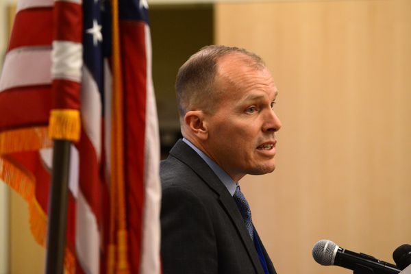 Dr. Timothy Ballard, Director of the Alaska Veterans Administration Health Care System, speaks about the state of the VA at a press conference in Anchorage, Alaska on Wednesday, October 11, 2017. (Bob Hallinen / Alaska Dispatch News)