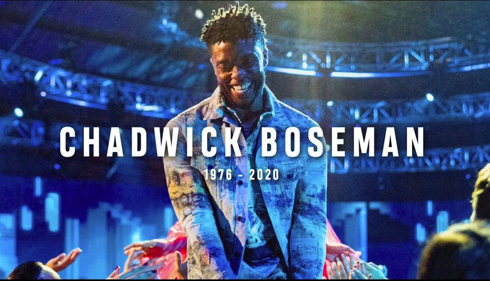 In this video grab issued Sunday, Aug. 30, 2020, by MTV, a tribute to the late actor Chadwick Boseman appears on screen during the MTV Video Music Awards. (MTV via AP)