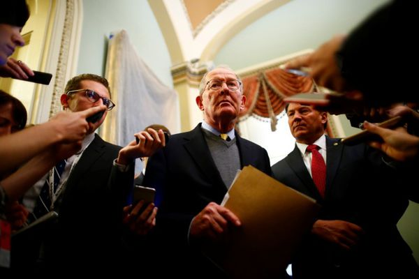 Senator Lamar Alexander (R-TN) speaks to reporters on following a policy luncheon on Capitol Hill in Washington, U.S. October 17, 2017. REUTERS/Eric Thayer