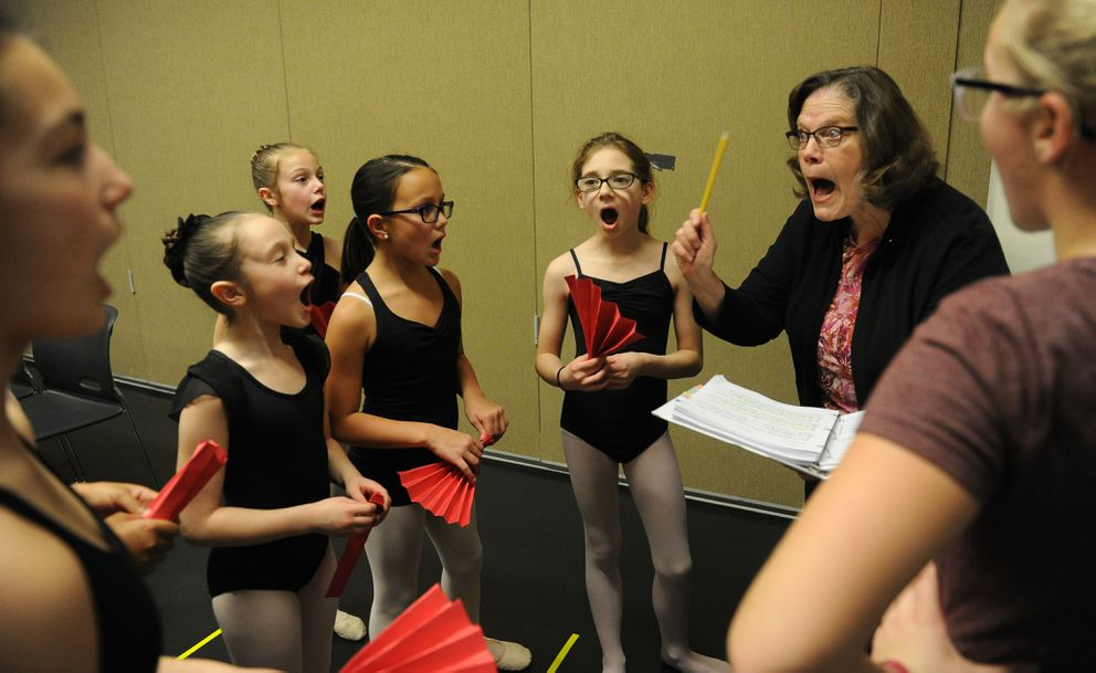 "Janet Carr-Campbell works with local dancers on a song as they rehearse at Alaska Dance Theatre on Jan. 28 for their part in the production of ""Billy Elliot"" in Anchorage. The play runs Feb. 14-19 at the Alaska Center for the Performing Arts. (Bob Hallinen / Alaska Dispatch News)"