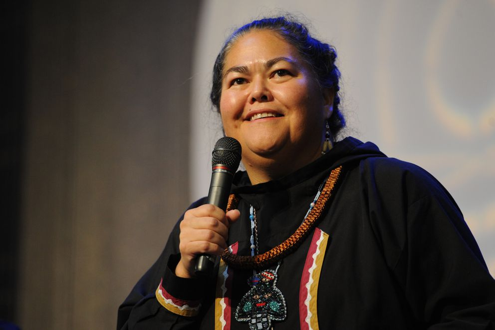 Liz Medicine Crow, president and CEO of First Alaskans Institute, speaks during the Elders and Youth Conference at the Dena'ina Center on Oct. 16, 2018. (Bill Roth / ADN archive)