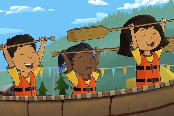 This image released by PBS shows characters, from left, Tooey, voiced by Sequoia Janvier, Trini, voiced by Vienna Leacock and Molly, voiced by Sovereign Bill, in a scene from the animated series