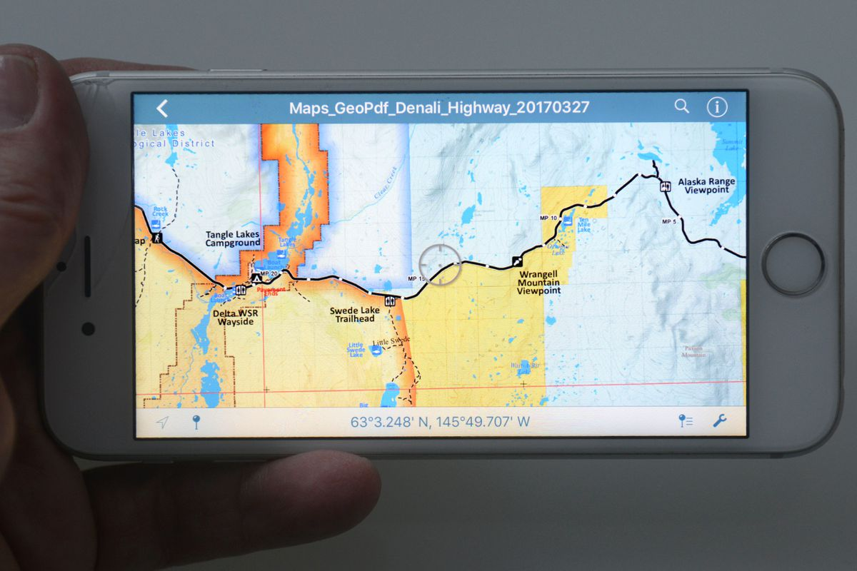The Digital Public Information Map Series (DPIMS) for mobile devices released by the Bureau of Land Management contains maps spanning much of Alaska. (Erik Hill / Alaska Dispatch News)