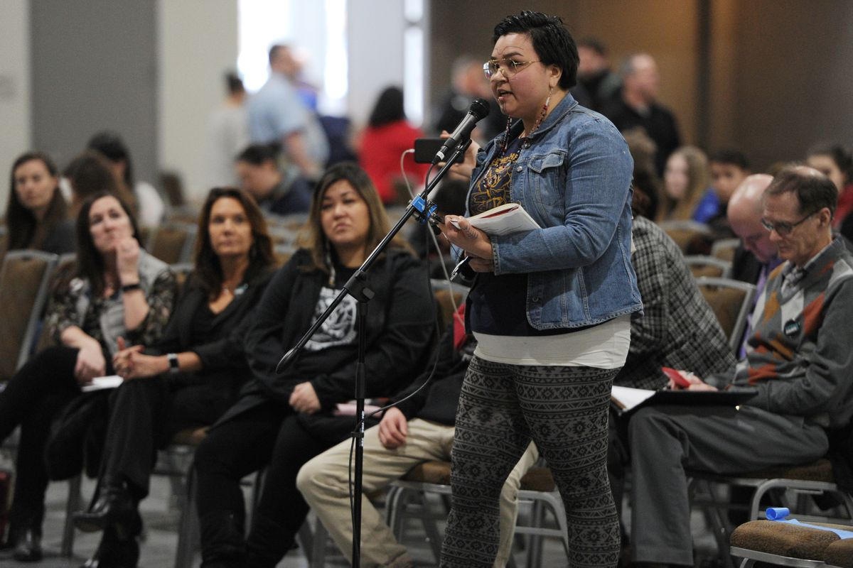 Sarah Siqiñiq Maupin spoke in opposition to oil development in the Arctic National Wildlife Refuge during public testimony in the Dena'ina Center on Monday, Feb. 11, 2019. (Bill Roth / ADN)
