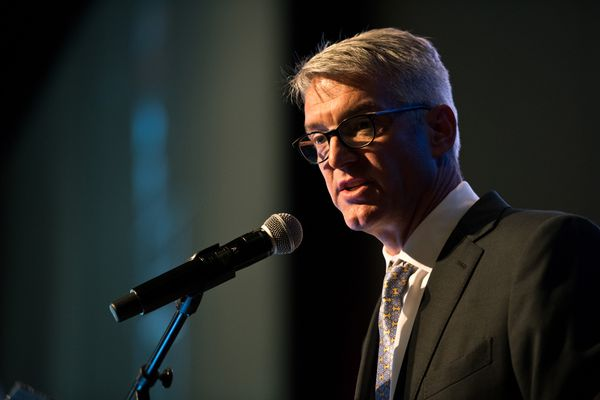 Jeff Roe, President and CEO of Premera Blue Cross, spoke at Anchorage Economic Development Corp.'s annual three-year economic forecast luncheon on July 25, 2018. (Marc Lester / ADN)