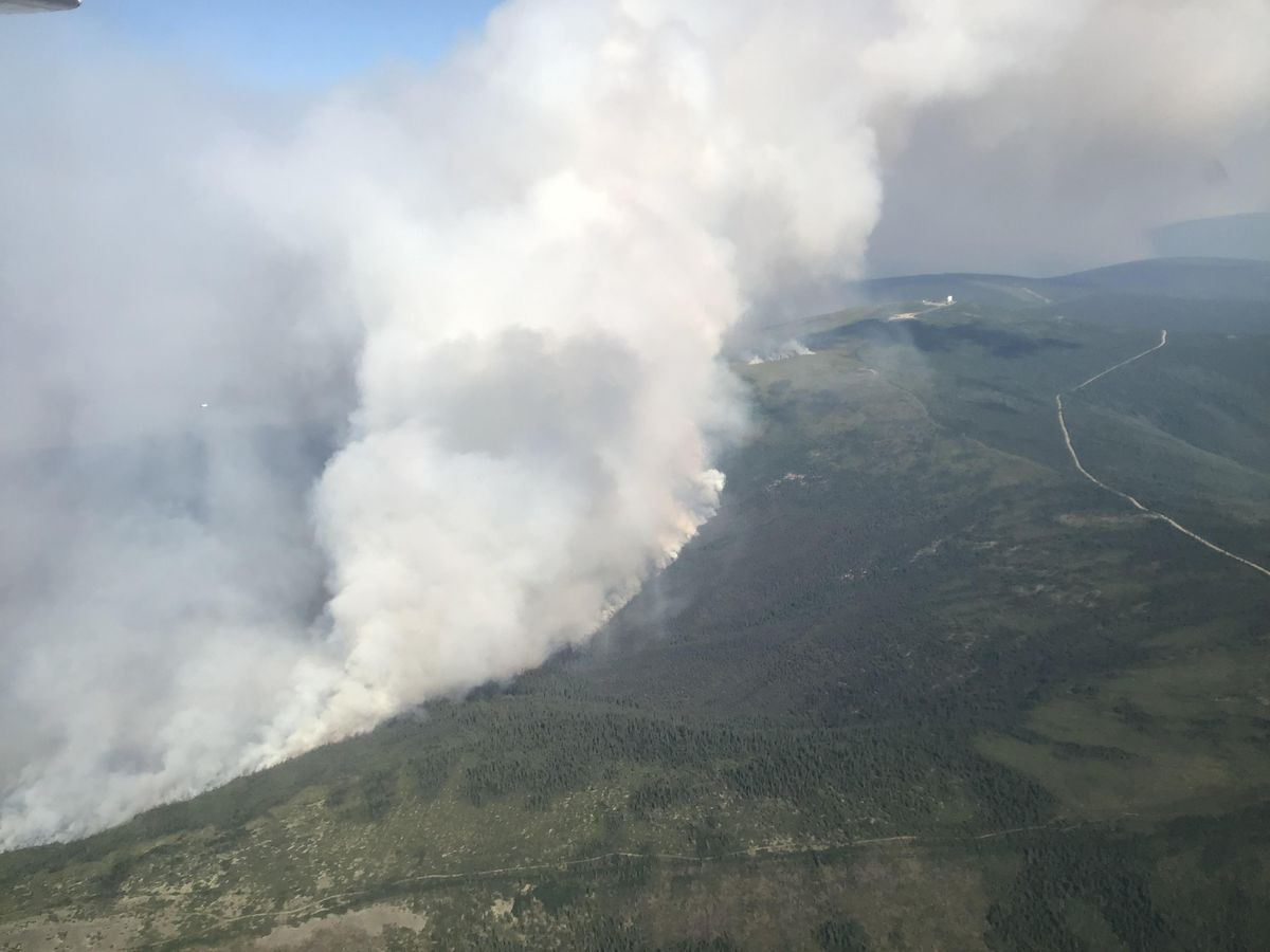 Aerial view of the Shovel Creek Fire on Friday, June 28, 2019, looking east towards Murphy Dome near Fairbanks. (Alaska Division of Forestry)