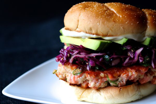 Salmon burgers with sesame slaw and wasabi mayo (Maya Wilson / Alaska from Scratch)
