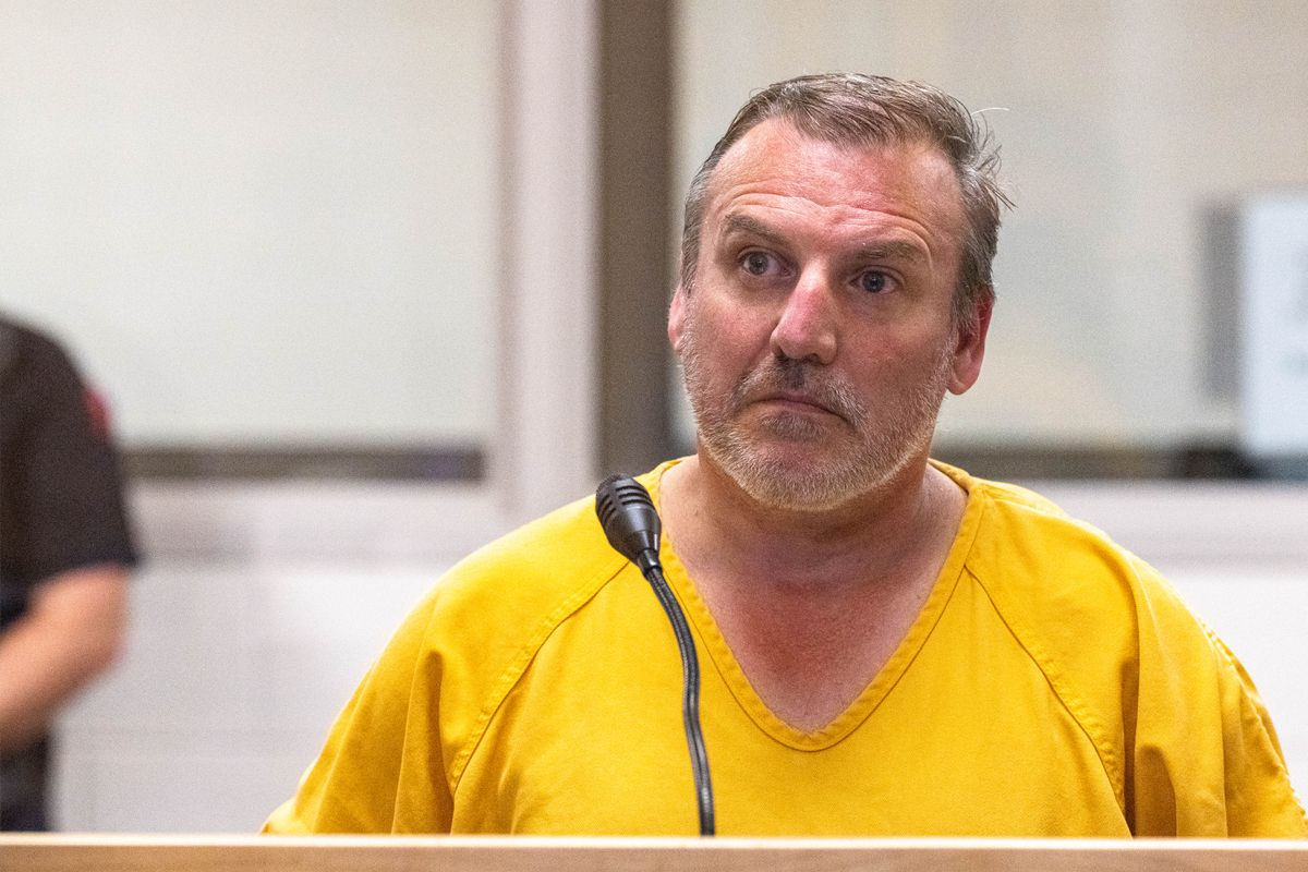 Brian Steven Smith is arraigned Wednesday, Oct. 9, 2019 on a charge of first-degree murder at the Anchorage Jail courtroom. (Loren Holmes / ADN)