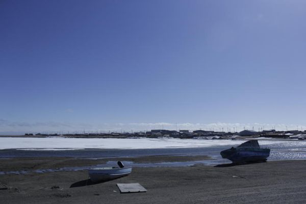 Kaktovik sits on an island in the Arctic Ocean on Alaska's northeast coast. It's the only village within the Arctic National Wildlife Refuge's coastal plain, which Congress opened to oil exploration in 2017. (Photo by Nat Herz/Alaska's Energy Desk)