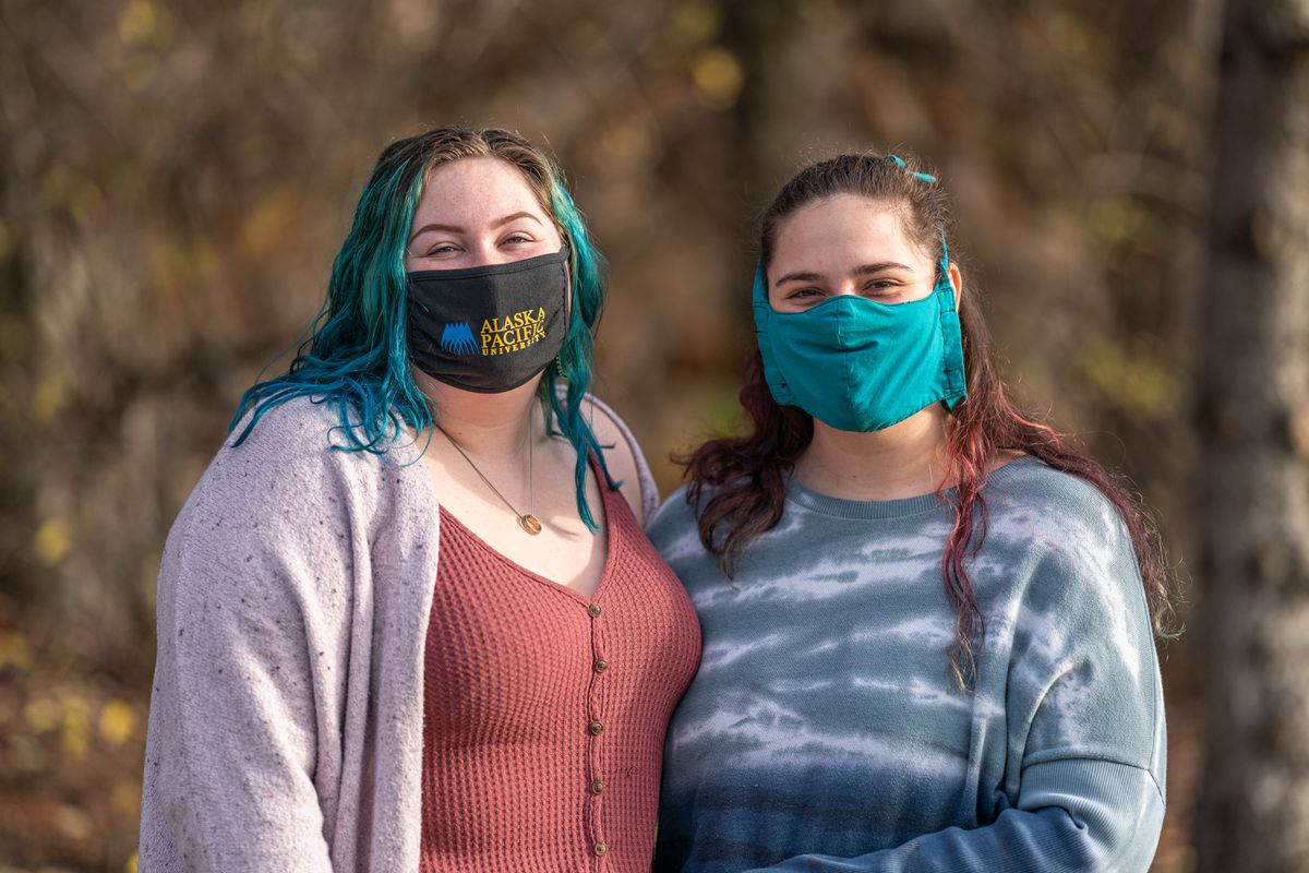Zoe Flannery, 22, at left, and her roommate Allie Williams, 20, both found out they had COVID-19 late last month, and rode out the worst of the illness together. Photographed at Alaska Pacific University on Saturday, Oct. 10, 2020. (Loren Holmes / ADN)
