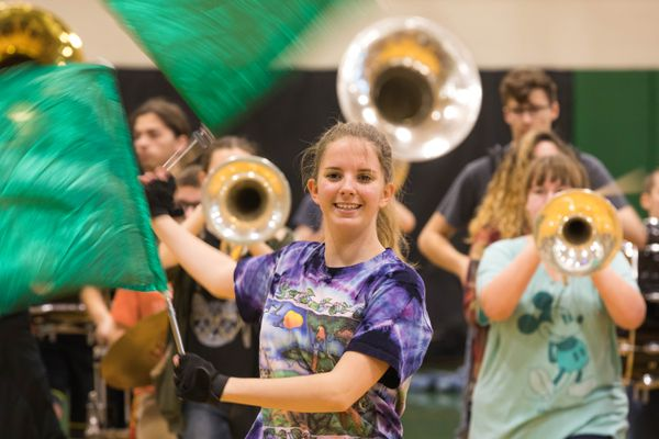 Kaitlyn Gilley rehearses with Colony High School's marching band, Thee Northern Sound, at the school on Saturday, Nov. 11, 2017. The band has been picked to perform in the 2017 Macy's Thanksgiving Parade in New York City. It will be the first time an Alaska band has marched in the famous parade, first held in 1924. (Loren Holmes / Alaska Dispatch News)