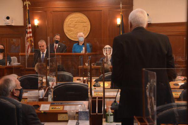 Rep. Bart LeBon, R-Fairbanks, asks a question of U.S. Sen. Dan Sullivan, R-Alaska, during a joint session of the Alaska Legislature on Monday, May 3, 2021 at the Alaska State Capitol in Juneau. Sullivan's 2020 address was canceled amid the COVID-19 pandemic. (James Brooks / ADN)