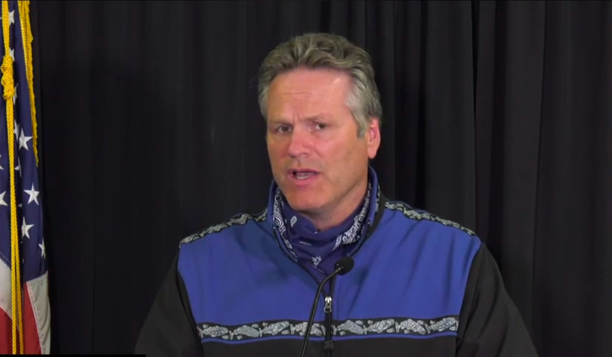 Alaska Gov. Mike Dunleavy during a media briefing on Tuesday. (Screengrab from Facebook Live video)