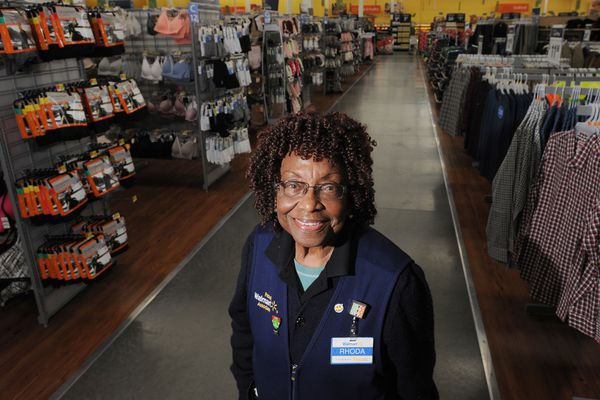 94-year-old Rhoda Jackson works part-time at the Walmart in Muldoon on Monday, Jan. 8, 2018. (Bill Roth / ADN)