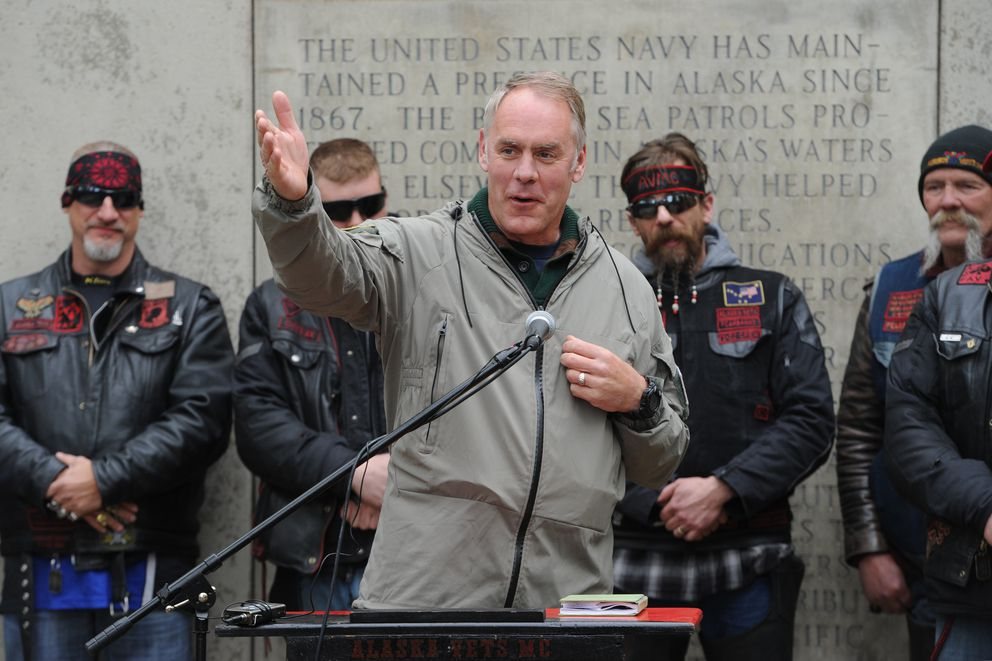 Interior Secretary Ryan Zinke, shown here at a Memorial Day ceremony in Denali State Park, visited Alaska last month and directed his department to review a management plan for the National Petroleum Reserve in Alaska. (Bill Roth / Alaska Dispatch News)​