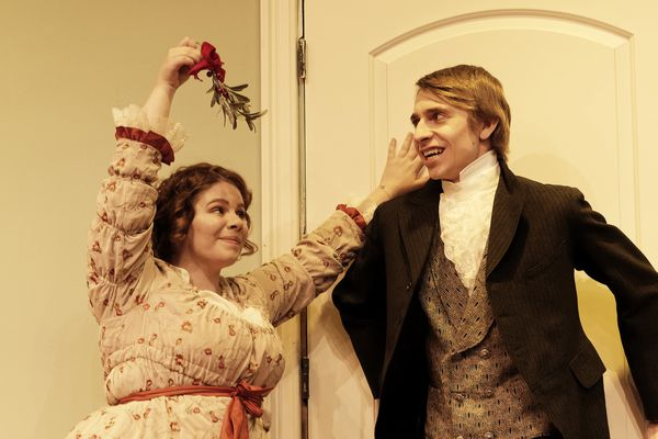Angela Colavecchio (playing Lydia Wickham) and Jake Beauvais (playing Arthur de Bourgh) work a scene in dress rehearsal for
