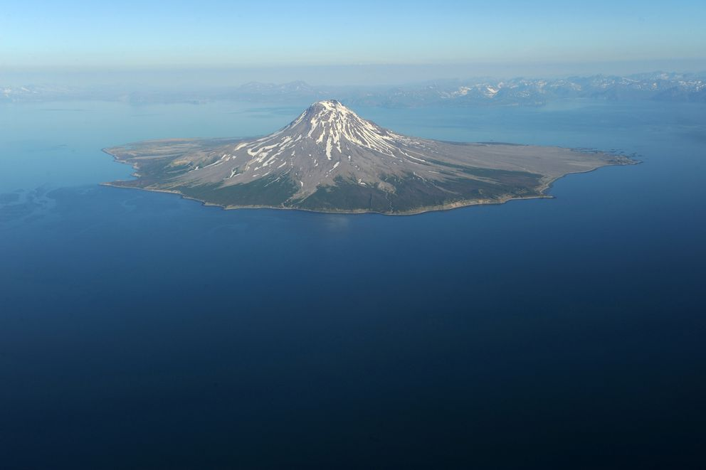 Augustine Volcano is an island near Kamishak Bay in Cook Inlet. It's viewed while flying between Homer and Hallo Bay in Katmai National Park. Its last eruption ended in March 2006. (Anne Raup / ADN)