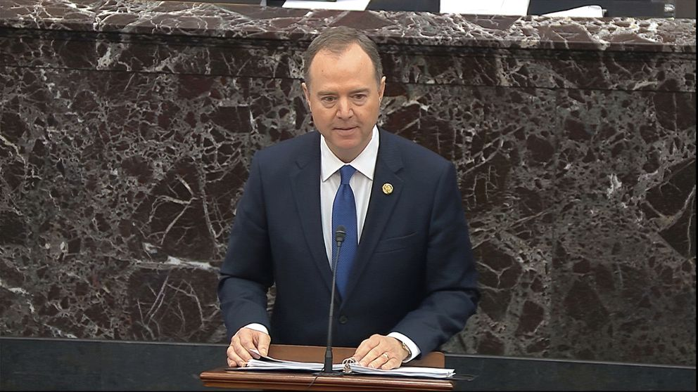 In this image from video, House impeachment manager Rep. Adam Schiff, D-Calif., speaks during closing arguments in the impeachment trial against President Donald Trump in the Senate at the U.S. Capitol in Washington, Monday, Feb. 3, 2020. (Senate Television via AP)