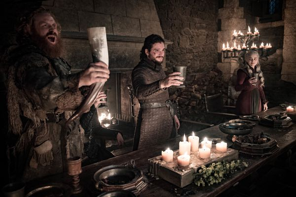 This image released by HBO shows Kristofer Hivju, from left, Kit Harington and Emilia Clarke in a scene from