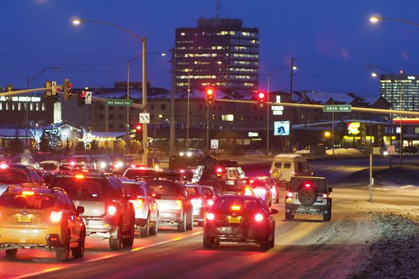 Traffic waits at a light on the Seward Highway at 36th Ave. on January 17, 2017. The Alaska Department of Transportation is in the early stages of a renewed effort to improve traffic flown along the Seward Highway in Midtown Anchorage. (Marc Lester / ADN)